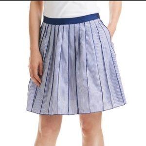 Vineyard Vines Poplin Blue Striped Pleated Skirt